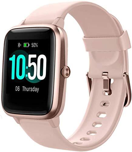 FGHJKOO Smart Watch Fitness Tracker Watch Men's Women's Fitness Watch Heart Rate Monitor IP68 Waterproof Digital Watch with Pedometer Calorie Sleep Tracker Smart Watch for Mobile Phone-Pink