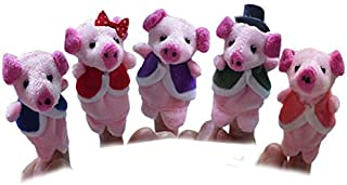 5pcs Animal PIGS Finger Puppet Plush Child Baby Early Education Toys Gift Three Little Pigs And Wolf Mini Toy Puppets Story Hand Cloth Doll ToysSoft PP Cotton Chubby Stuffed Animals Anime Gifts