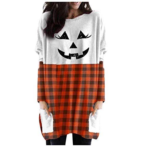 Damen Halloween Smiley Top Frauen Halloween Laterne Ghost Pumpkin Shirt Gesicht Kostüm Langarm Tops (Orange, XXXXXL)