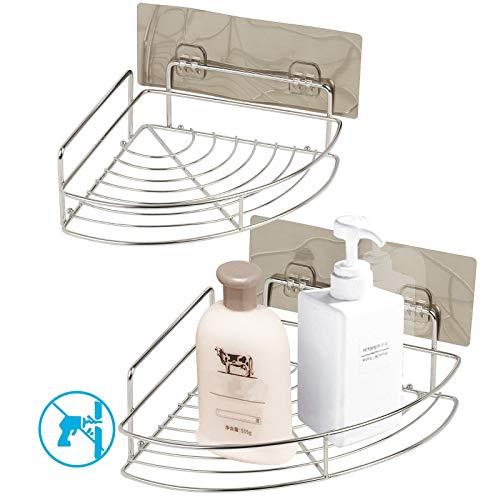 Mensole per bagno ad angolo adesivo da 2 pezzi MEZOOM Doccia a parete in acciaio inox Carrello per cucina Cesto portaoggetti da cucina con 2 pz Ganci autoadesivi per shampoo
