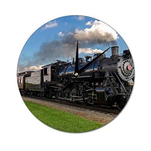 Mesllings Reloj de Pared de Cristal Redondo con diseño de Tren hacia Delante, Reloj de Pared para decoración de Pared, para Cocina, Oficina, Retro, Accesorios de decoración del hogar