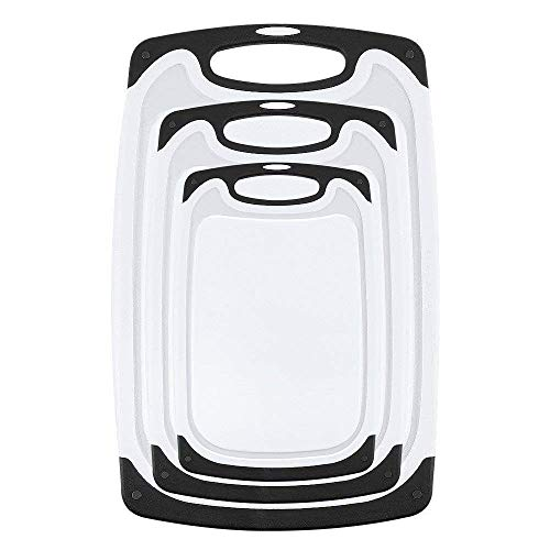 APcjerp Las Placas de Corte 3 pcs Tablas de Cortar de plástico adecuados for lavavajillas con pies Antideslizantes y Ranura Anti-Goteo