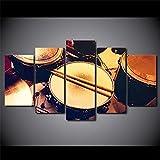 QWRTU Cuadro En Lienzo 5 Pieza Tambor Instrumento Musical Cuadros Modernos Impresión de Imagen Artística Lienzo Decorativo para Tu Salón o Dormitorio Cuadro En Lienzo 5 Pieza 150x80cm