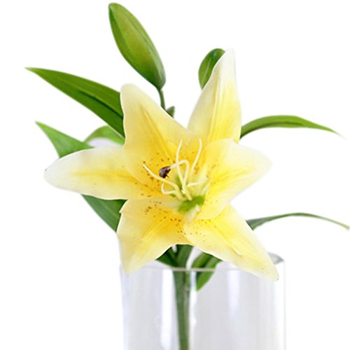 Malloom 5 Bouquet Artificial Lily Silk Flower Home Wedding Floral Decor (Yellow)