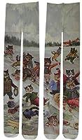Fleurs(フルール) FZ-1586 プリントタイツ ルイス・ウェイン ネコ柄 雪遊び 日本製 80デニール・50デニール展開 (80デニール M~L)