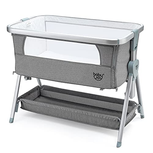 COSTWAY Bedside Crib, Folding Baby Bassinet with Mattress, Mesh Windows, Storage Basket and Wheels, 7 Height Adjustable Sleeping Cot for 0-6 Months, 9 kg (Grey)