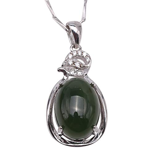 JYX Gem Stone Jade Pendant Necklace for Women Girls Charming 10x14mm Drip-Shaped Green Hetian Jade Pendant in 925 Sterling Silver