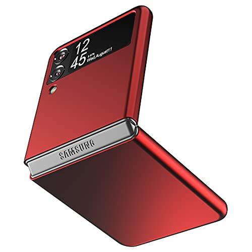 Cresee Hülle für Samsung Galaxy Z Flip 3 5G, Dünne Matte PC Hülle Handyhülle Schutzhülle Cover für Galaxy Z Flip3 2021, Rot