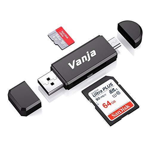 Vanja Lector de Tarjetas de Memoria SD/Micro SD, Adaptador Micro USB OTG y Lector de Tarjetas USB 2.0 para Computadora/Laptop/Tableta y Teléfono Inteligente con Función OTG