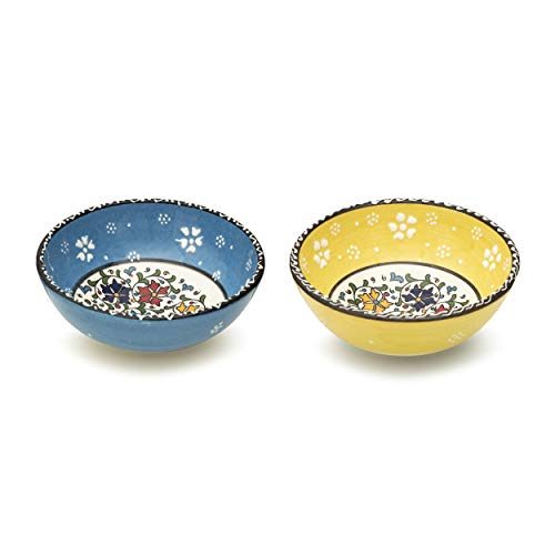 Ceramic Bowls Set of 2 - Bowls for Tapas, Dessert, Appetisers, Dips, Sweets, Small Fruits, Nuts, Ice Cream, Rice - Colourful Home Decorative Moroccan Ottoman Spanish Turkish Mexican Mandala Bowl Sets