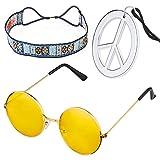 Beelittle Hippie-Kostüm Set - 60er Jahre Kreis Brille Friedenszeichen Halskette Hippie Stirnband...