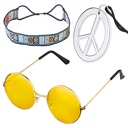 Beelittle Hippie-Kostüm Set - 60er Jahre Kreis Brille Friedenszeichen Halskette Hippie Stirnband 60er Jahre Party-Zubehör-Kit (D)
