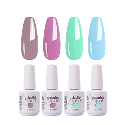 Arte Clavo 15ml Gel Nail Polish Set, Nude Purple Green Blue UV Gel Soak Off LED Nail Lamp Cured Base and Top Coat Nail Art Salon DIY at Home B29