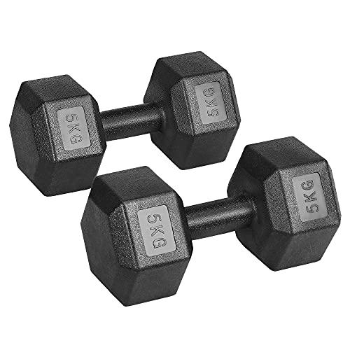 Yaheetech Juego de Mancuernas Hexagonales 5kg/7,5kg/10kg por Cada Una Kit Mancuernas de Ejercicio para Gimnasio Fitness Negra 5 kg