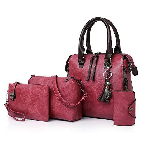 Mdsfe Neue 4 Stück/Set Hochwertige Damenhandtasche Damen PU Leder Schulter Umhängetasche Damen Compound Bag Einkaufstasche - Wassermelonenrot