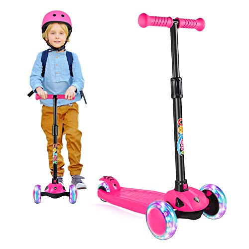 BELEEV Roller Kinder Scooter 3 Räder für Mädchen & Jungen, Kinderroller mit Led Licht Räder, 5 Einstellbarer Höhe, Lean-to-Steer, Klappbar Kleinkinder Kinderscooter(Rosa)