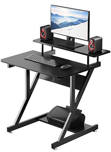 Dripex Schreibtisch Schwarz Computertisch Stabiler Z-förmiger Arbeitstisch PC Laptop Tisch Home Office mit Ablage 70 x 60 x 79CM