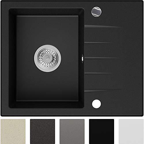 Granitspüle Schwarz 58,5 x 46,5 cm, Spülbecken + Siphon Automatisch, Küchenspüle ab 45er Unterschrank in 5 Farben mit Siphon und Antibakterielle Varianten, Einbauspüle von Primagran