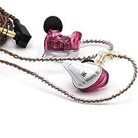 KZ ZSX 5BA+1DD ハイブリッド型HIFIイヤホン 10mmの二重磁気ダイナミックドライバ*1&カスタマイズアーマチュアドライバ*5が搭載され 高音質 重低音 0.75mm2pinコネクタと3.5mm金メッキプラグ ノイズキャンセリング機能 高純度OFCケーブル リケーブル可能のイヤモニ型イヤホン (パープル‐マイク付き)