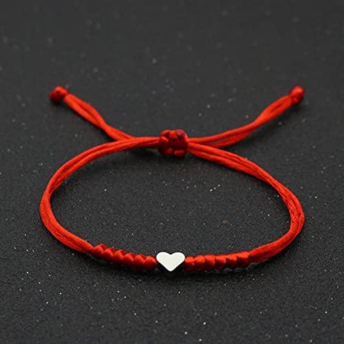 WWWL Brazalete para Hombre, Amor corazón Encanto Pulsera Mujeres Hombres Amantes 'Deseo Buen Suerte Rojo Cuerda Trenzado abatible Pareja Pulseras para Hombres Regalo (Metal Color : Red)