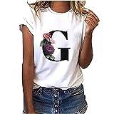 YANFANG Camiseta de Manga Corta para Mujer,con Estampado de Cuello Redondo Informal de Moda Larga Sudadera Casual Top Túnica Tops Jersey Largo,B,D,C,A,E,F,J,G,I