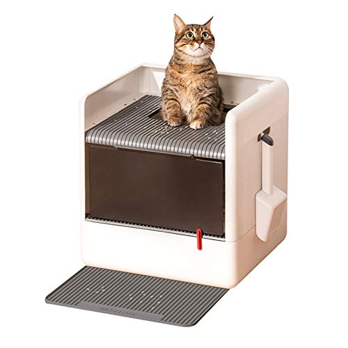 Caja de arena Cajas de basura totalmente cerradas Cajas de basura para gatos grandes Caja de arena plegable de entrada de doble puerta con doble puerta con pala, blanco + gris Bandeja Sanitari