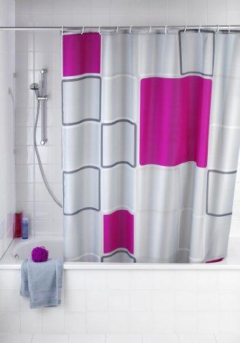 WENKO Anti-Schimmel Duschvorhang Abstract - Anti-Bakteriell, waschbar, mit 12 Duschvorhangringen, Polyester, 180 x 200 cm, Mehrfarbig