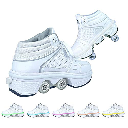 Roller Skates Inline Skate 2-in-1 Multi-Purpose Shoes Adjustable with 7 Color Changing Lights Button Deformation Double Row Roller Skating for Adult Beginners Gift,36