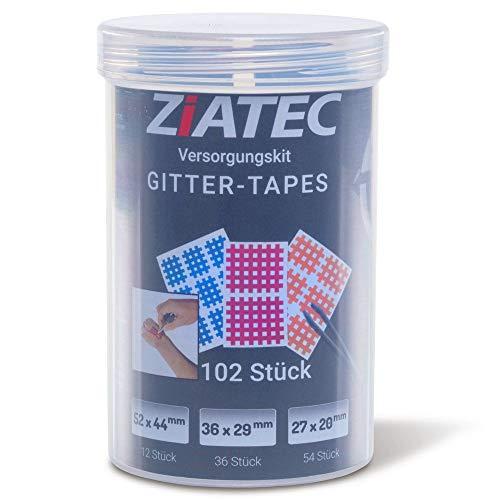 Ziatec Cross Tapes Box mit 102 oder 204 Pflaster + Ziatec Tape Schutzdose, Gittertapes, Akupunkturpflaster, Größe:Universalgröße, Farbe:mix