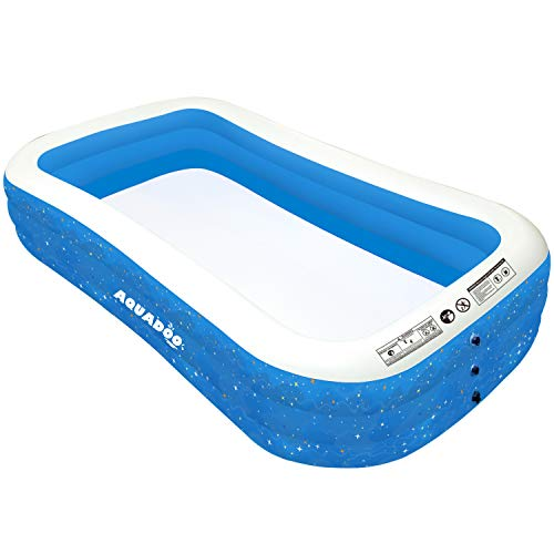 Aquadoo Family Swimming Inflatable Pool, 120' X 72' X 22' Full-Sized 0.4mm PVC Material Inflatable Lounge Pool for Baby, Kids, Adults Blow up Kiddie Pool for Family Outdoor Garden Backyard