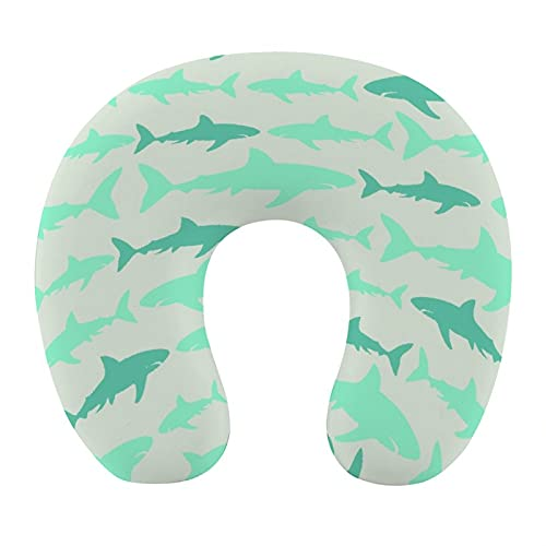 CIKYOWAY Almohada Viaje,Monocromo Ilustración de Tiburones Moda Ilustración marítima Acuáticos,Espuma de Memoria cojín de Cuello,Almohadas de Acampada,Soporte de Cuello para Viaje Coche