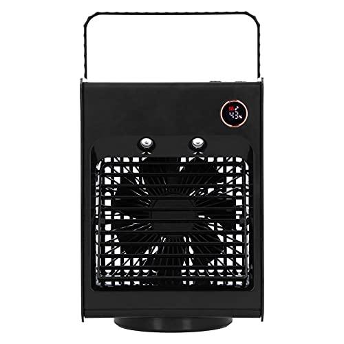 Qcwwy Enfriador de Aire para Espacio Personal, 2 en 1 Ventilador de Humidificación de Pulverización Oscilante Portátil, Ventilador de Aire Acondicionado de Carga USB con Luz para Dormitorio(Negro)