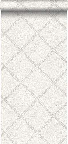 behang oosters berber tapijt licht warm grijs en wit - 148664 - van ESTAhome