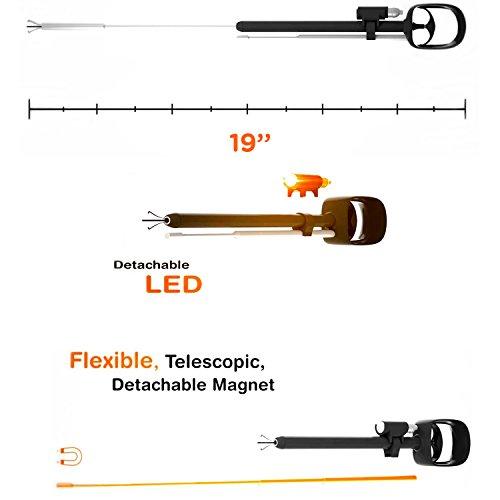 ODii Ausziehbares magnetisches Abholentool & Schnappen-Gadget für Auto, Heim und Arbeit | Starke Klaue, Magnet und LED Licht | 2016 National Hardware Show Preis Gewinner