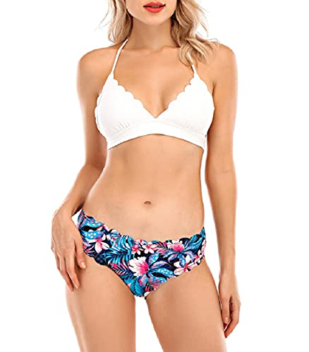Voqeen Bikini Donna Due Pezzi Costumi da Bagno Costume da Bagno Halter-Neck Costume da Mare Bikini Brasiliani da Spiaggia Pizzo Ondulato Swimwear-Bianca-L