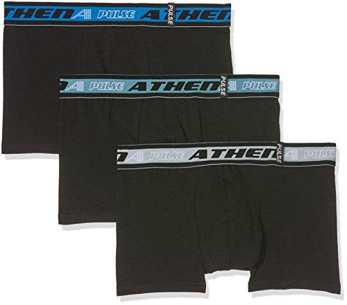 Athena Lot de 3 Pulse, Boxer Homme, Noir (Noir/Noir/Noir), Small (Taille Fabricant: 2)