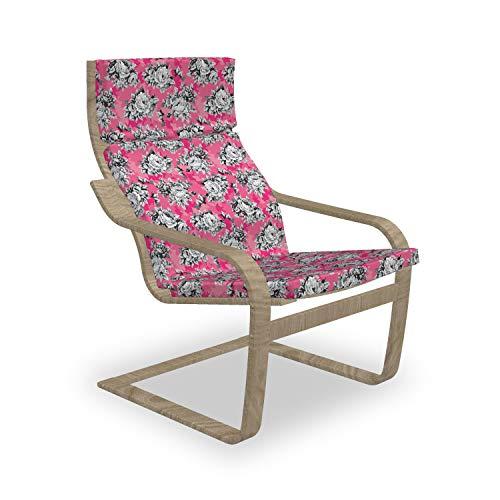 ABAKUHAUS Pfingstrose Poäng Sessel Polster, Graustufen- Blumen Chintz Rose, Sitzkissen mit Stuhlkissen mit Hakenschlaufe und Reißverschluss, Pink Pastellrosa