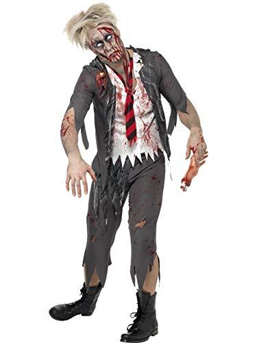Halloweenia - Herren Männer Kostüm blutiger Zombie High School Schuljunge Schüler mit Hose Jacke integriertem Hemd und Krawatte, Bloody School Boy, perfekt für Halloween Karneval und Fasching, M, Grau