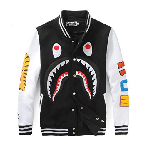 Big Mouth Shark Ape Bape Camo Mens Women Hoodies Sweatershirt Casual Zip Up Hip-Hop Funny Tops H-1black M