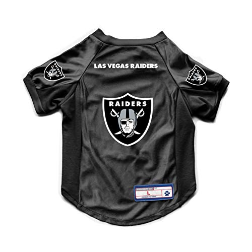 Littlearth NFL Las Vegas Raiders NFL Las Vegas Raiders Stretch Pet Jersey - Sports Jersey Designed for Dogs and Cats - Stretch Fabric, Team Color, X-Small