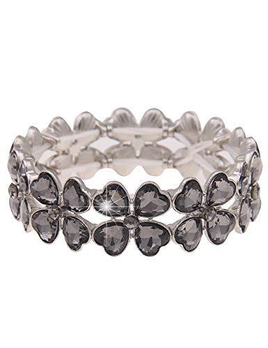 Leslii Damen-Armband Kleeblatt-Herzen Herz-Armreif Statement Glücksbringer schwarzes Modeschmuck-Armband Silber Schwarz