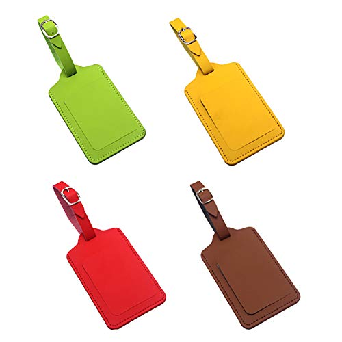 FSSTUD 4 PCS PU Leather Travel Luggage Handbag Tags Labels Suitcase ID Tags for Bags Baggage