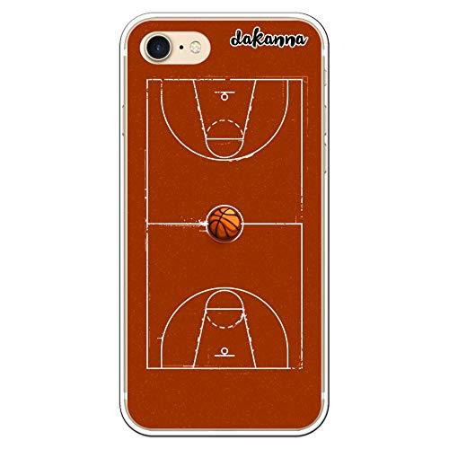 dakanna Funda para iPhone 7 - iPhone 8 | Campo y balón de Baloncesto | Carcasa de Gel Silicona Flexible Transparente