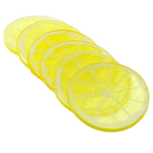 LACKINGONE 10 x Rebanadas de plástico artificial realista de limón, decoración del hogar, frutas falsas