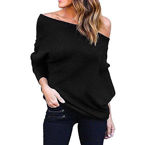 Mujer Moda Suéter Largo Casual Jersey Prendas de Punto de Cuello Barco Batwing Mangas Largas Camiseta Tops Suelto Prendas de Punto Suéter