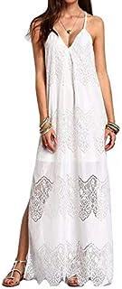 QGTDRESS Summer Women Lace V-Neck Sling Sexy Beach Dress, Size: M(White) (Color : White)