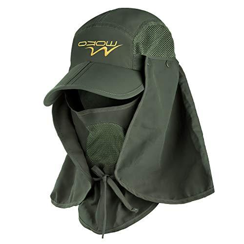 MoKo Casquette de Protection Anti-UV Sun Hat été, Casquette de pêche à Large Bord, 360 ° Casquette de Protection pour Hommes et Femmes - Vert d'armée
