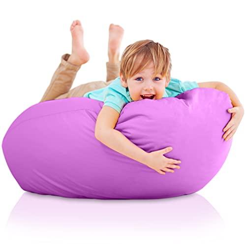 Funda de Puff Infantiles sin Relleno - Sillon Infantil XXL para Decoracion Habitacion Niña - Silla, Sofa o Puf Gigante Bebe Rosa - Originales Regalos para Niños de 6 a 12 Años