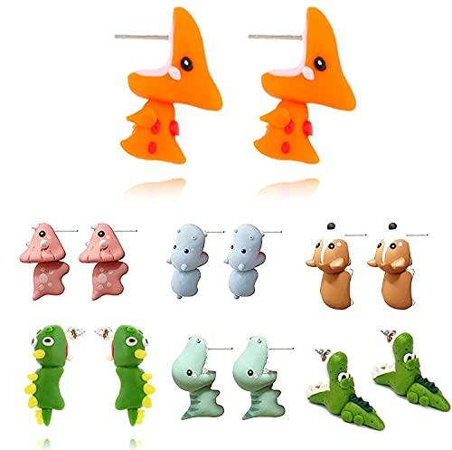 de pendientes de arcilla polimérica con pendientes de mordedura de animales bonitos, pendientes de arcilla 3D, pendientes de tuerca de animales de polímero hechos a mano simples a la moda (Hippo)