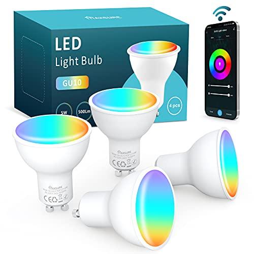 Maxsure Lampadina LED GU10 Intelligente, Lampadine Alexa 5W 500LM Equivalente a50W, GU10 Lampadina Smart WIFI, Dimmerabile RGB+2700K-6500K, Compatibile Google Home, Controllo Vocale, Timer, 4 Pezzi